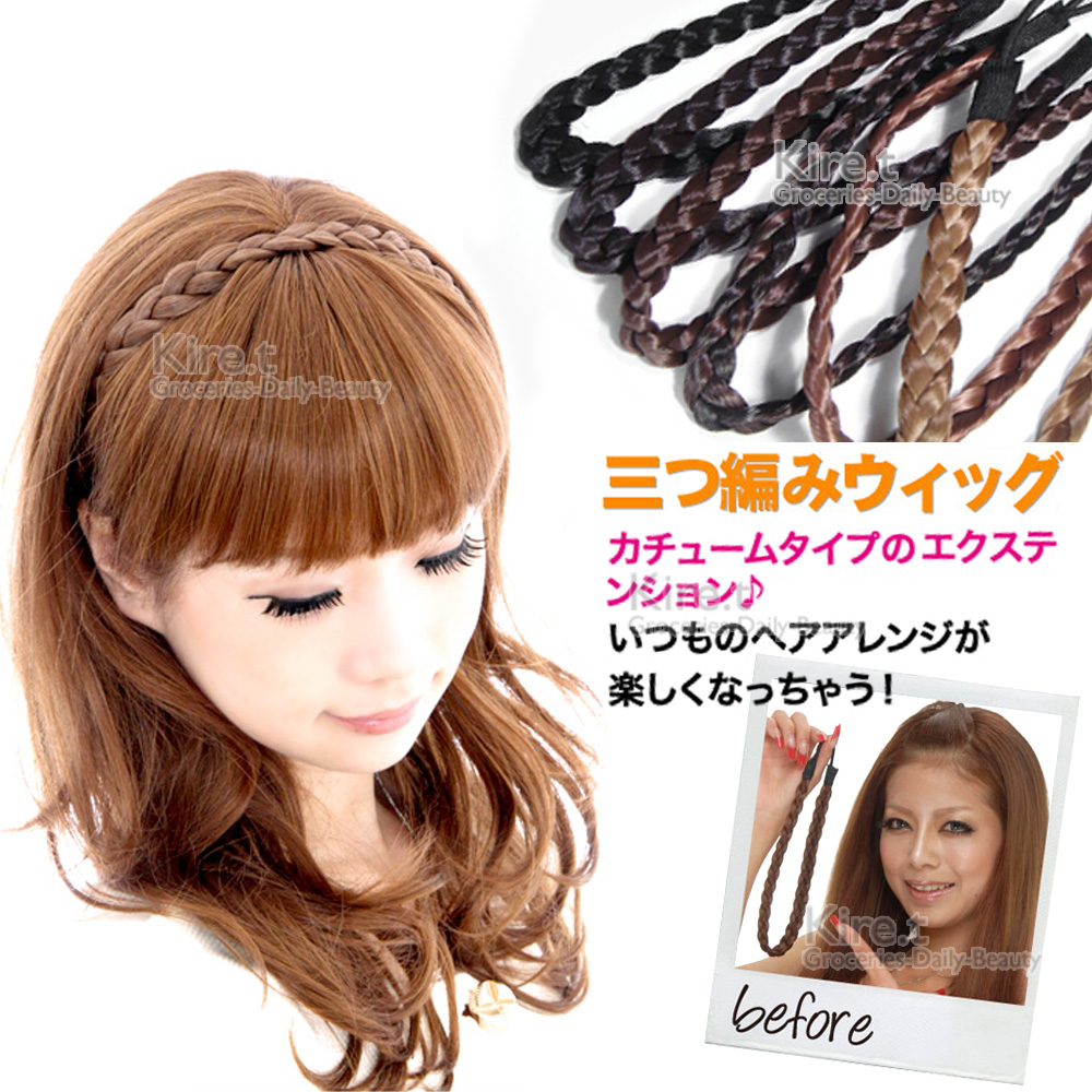 kiret 日韓-波西米亞風 假辮子髮帶(超值2入) 黑 淺咖 深咖