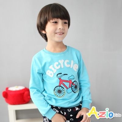 Azio Kids 童裝-上衣 腳踏車字母縮口長袖T恤(藍)