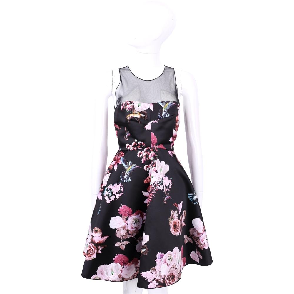 PINKO 黑色透視拼接花卉圖騰無袖洋裝 @ Y!購物