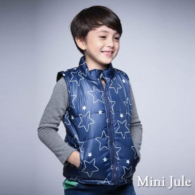 Mini Jule 童裝-鋪棉背心 搖粒絨框線星星雙口袋鋪棉背心(藍)