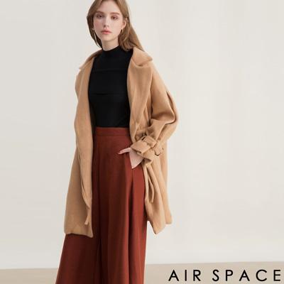 AIR SPACE 翻領抽繩設計毛呢大衣外套(卡其)