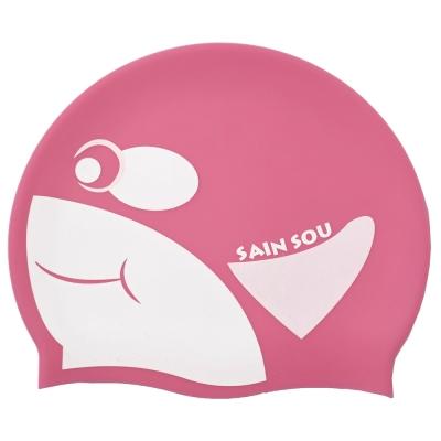 聖手牌 虎鯨造型矽膠泳帽(粉紅)