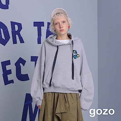 gozo 男友風立體毛編宇宙圖案帽T(二色)