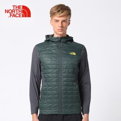 The North Face北面男款綠色保暖鋪棉外套
