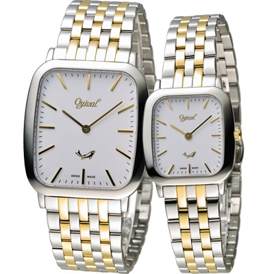 Ogival 愛其華 蟬翼系列超薄時尚對錶-銀x金/33x36+25x27mm