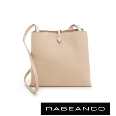 RABEANCO 迷時尚牛皮系列經典方型肩背包(大) - 杏色