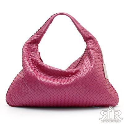 【2R】頂級訂製NAPPA羊皮手工梭織彎月包(氣質桃粉)