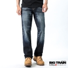 BIG TRAIN-後袋繡花中直筒褲-深藍