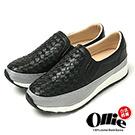 Ollie韓國空運-正韓製皮革編織側邊鬆緊休閒懶人鞋-黑
