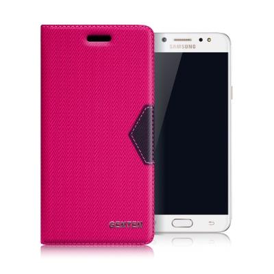 GENTEN Samsung Galaxy J7+ 簡約守護磁力皮套