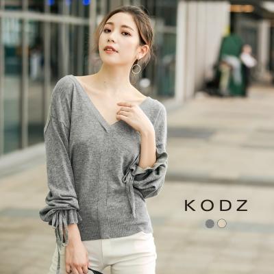 東京著衣-KODZ 雜誌款V領荷葉袖針織上衣-S.M.L(共二色)