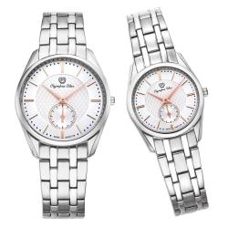 Olympia Star 經典都會系列情人對錶 58072LS+MS -銀/26mm+36mm