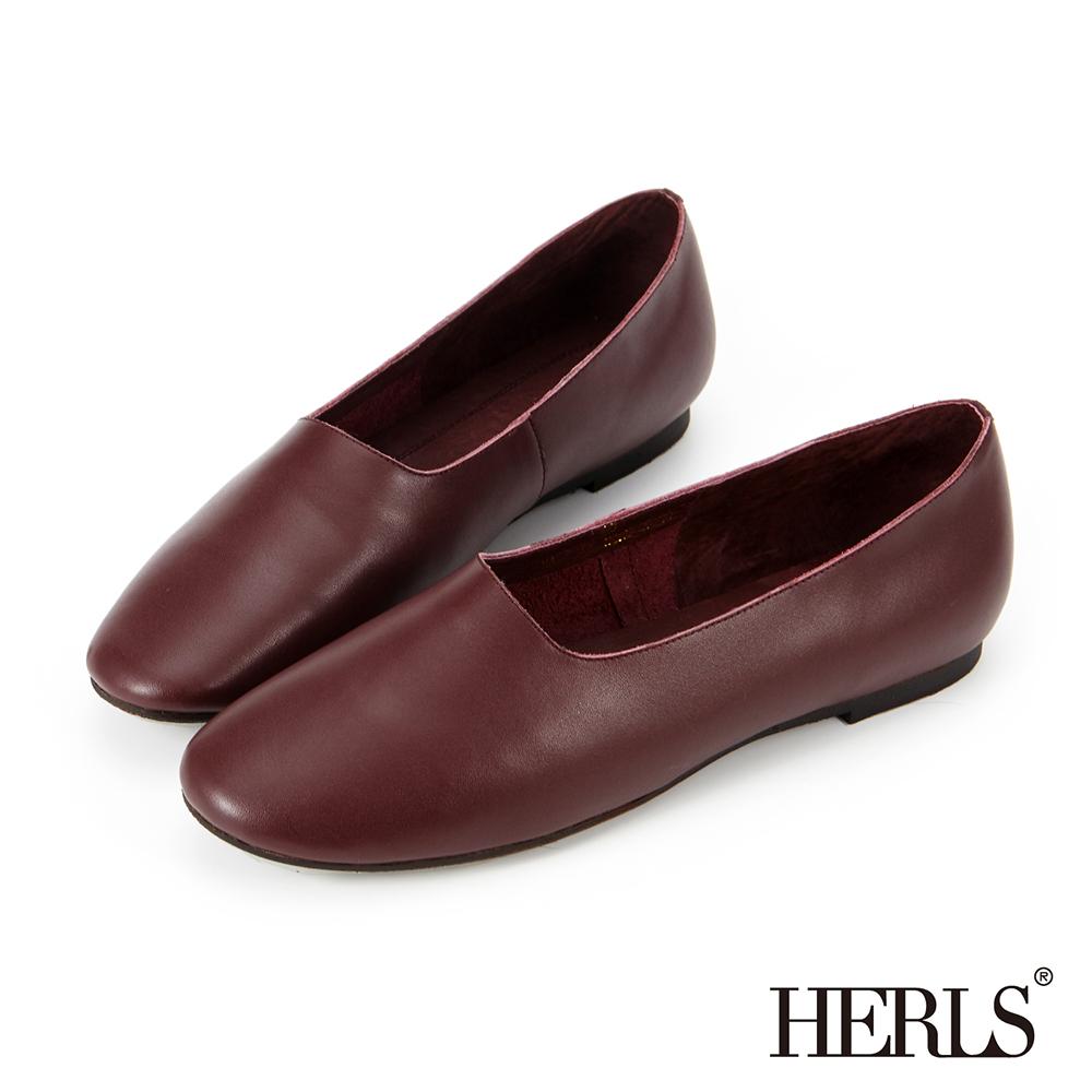 HERLS 全真皮 文青氣息全素面平底休閒鞋-酒紅色