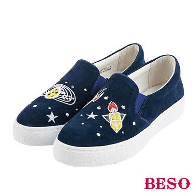 BESO宇宙星球 大夢想家不對稱電繡休閒鞋~藍