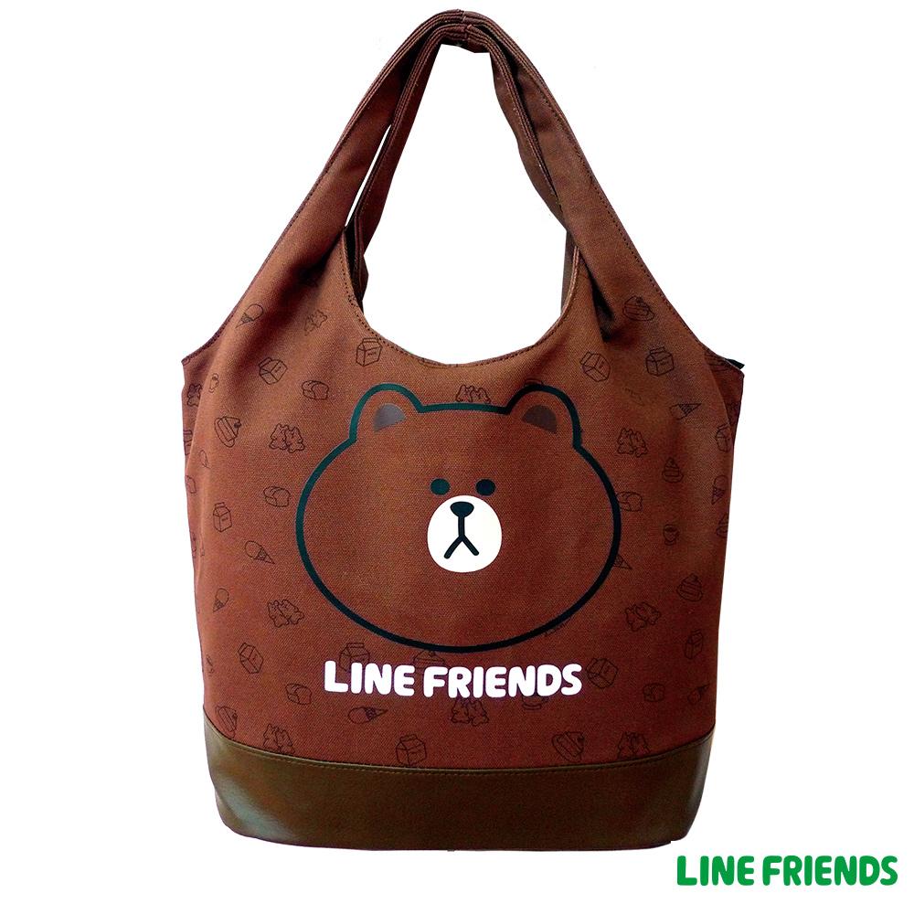LINE FRIENDS  MIT 熊大俏麗袋(咖啡咖)