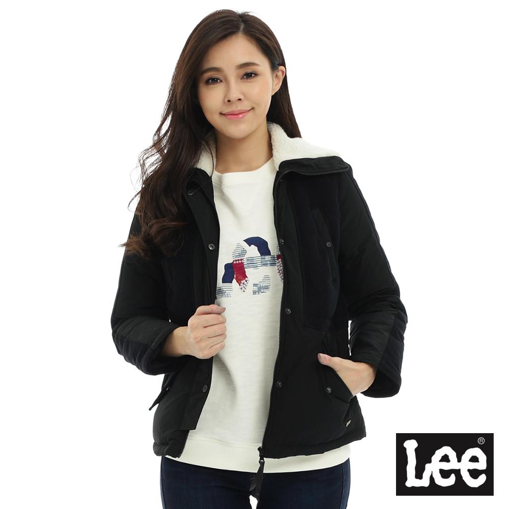 Lee 連帽羽絨拼接外套70%羽絨-女-黑