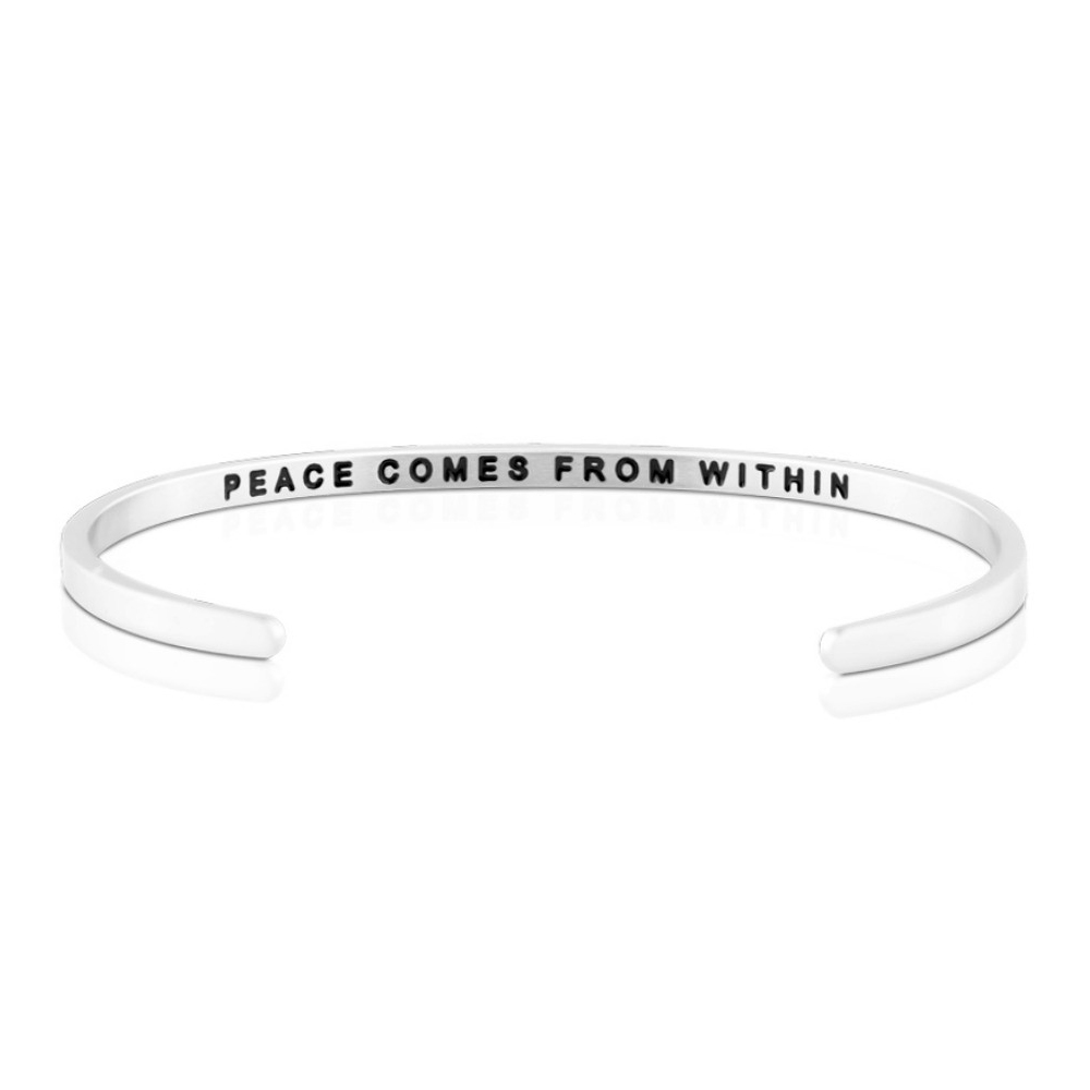 MANTRABAND 手環 Peace Comes From Within寧靜來自內心銀色