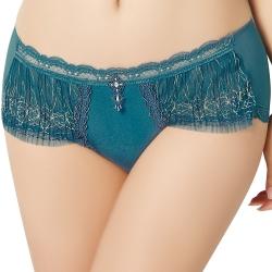 思薇爾 璀璨花火 刺繡蕾絲中低腰平口內褲 M-XL(月藍色)