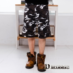 Dreamming 韓系街頭迷彩多口袋伸縮休閒短褲-白色