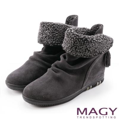 MAGY 暖冬時尚 2WAY抓皺捲毛麂皮短靴-灰色