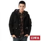 EDWIN 洗退中長版鋪棉防寒外套-男-黑色