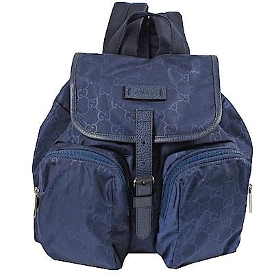 GUCCI 經典GG輕尼龍雙口袋輕巧後背包(深藍)