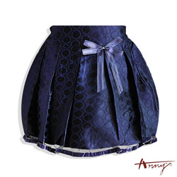 Anny華麗圈圈網紗裙襬短裙*3249藍
