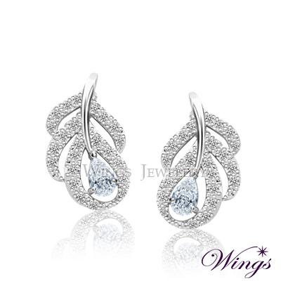 Wings-璀璨羽翼-八心八箭進口方晶鋯石美鑽-精鍍白K金耳環