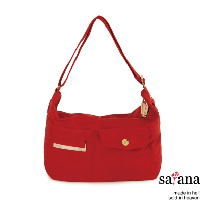 satana - 微笑曲線休閒斜肩包 - 中國紅