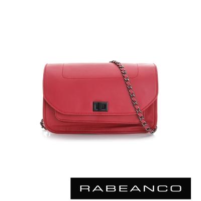 RABEANCO-迷時尚牛皮系列鍊帶雙層轉釦方包-大-紅