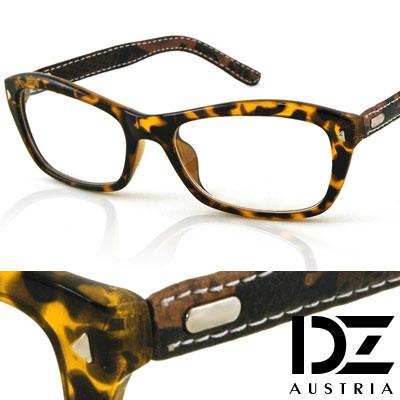 DZ-三角釘車線皮革-平光眼鏡-玳瑁深咖