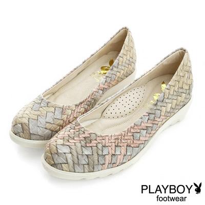 PLAYBOY 復古風采 編織壓紋厚底娃娃鞋-米(女)
