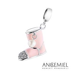 Angemiel安婕米串珠 925純銀吊飾 Dream童話系列 粉紅雪靴