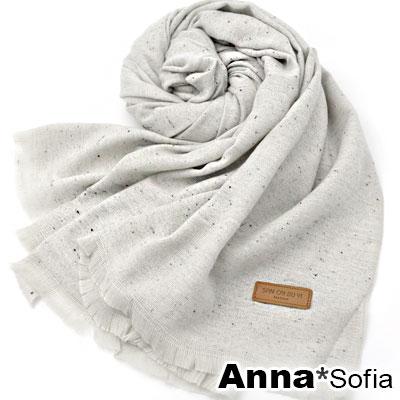 AnnaSofia-雪絮布質皮標飾-混羊毛披肩圍巾-米灰系