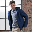 GIORDANO男裝簡約修身連帽防風外套 - 71 花紗靛藍色