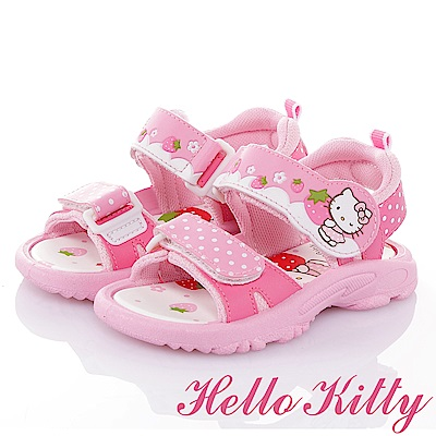 HelloKitty 草莓系列 舒適輕量減壓運動休閒童涼鞋-桃