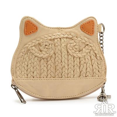 2R-漩渦編織ME羊皮貓型包-質感杏