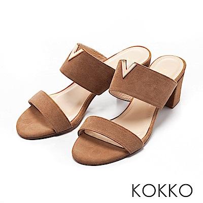 KOKKO-優雅小姐V領高跟真皮涼拖鞋-可可咖