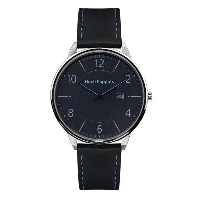 Hush Puppies 雅仕風範薄型腕錶-藍/44mm