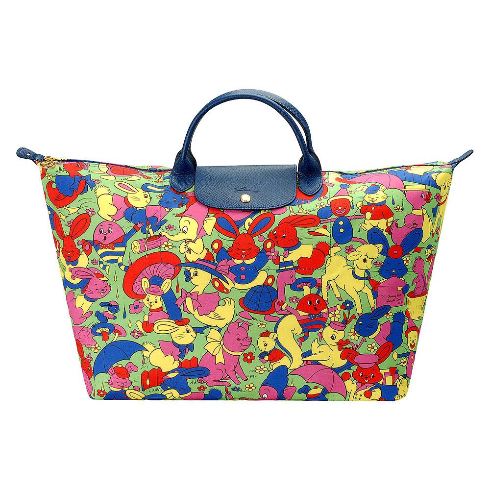 LONGCHAMP限定款Jeremy Scott彩色森林動物印花短把旅行購物包(大-彩色)LONGCHAMP