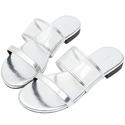 AIR SPACE 簡約細帶平底涼鞋(銀)