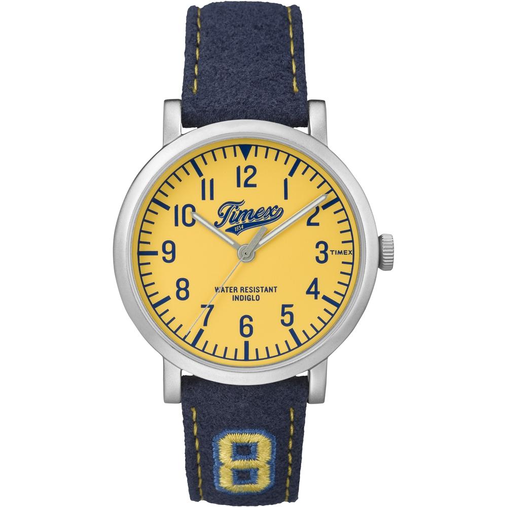 TIMEX 天美時復刻University系列學院風手錶-黃x藍/42mm