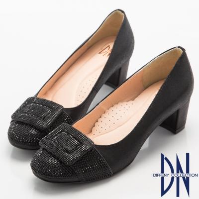 DN-奢華耀眼-華麗方形水鑽飾扣中跟鞋-黑