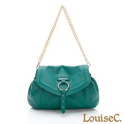 LouiseC. 義大利牛皮甜美鏈帶肩背包-草綠色-05C01-0055A08