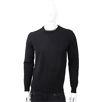 TRUSSARDI 撞色織紋領細節皮革標籤黑色針織羊毛衫