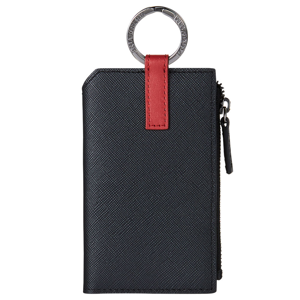 MONDAINE 瑞士國鐵Urban牛皮4卡鑰匙零錢包-十字紋黑