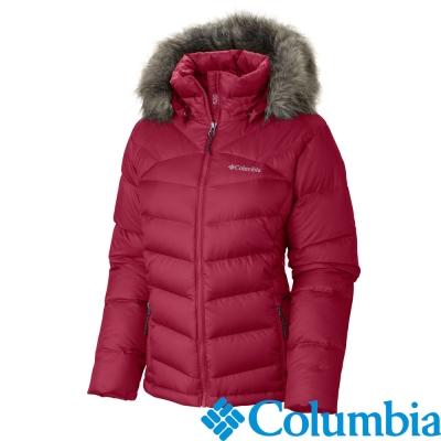 Columbia-防潑羽絨連帽外套-女-紅色-USL40490RD