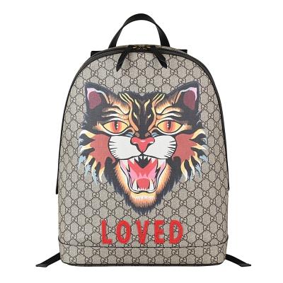 Gucci Supreme GG系列 Angry cat圖印PVC皮革拉鍊後背包-咖啡x黑