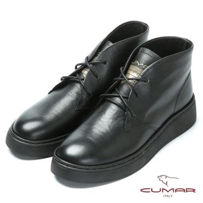 CUMAR嚴選真皮 舒適厚底綁帶短靴-黑色