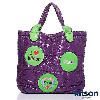 kitson 徽章圖案鋪棉托特包 GREEN